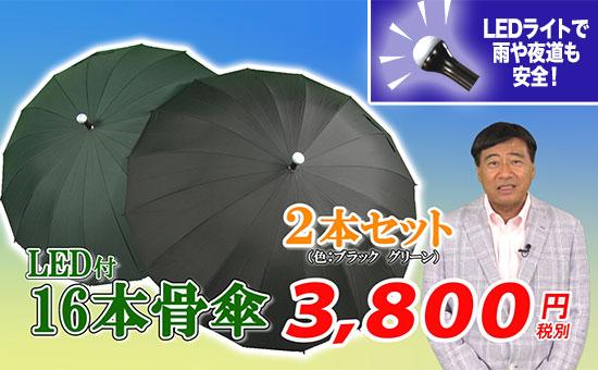 LED付き16本骨傘2本セット